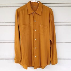 Vintage 70's Sears Mustard Yellow Button Up Shirt